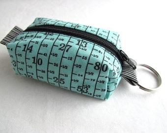 Boxy Little Pouch Key Chain, Split Key Ring - Aqua Measuring Tape