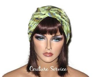 Green Turban, Women's Handmade Fashion, Twist, Diagonal Stripe, Silky, Multi-Colored