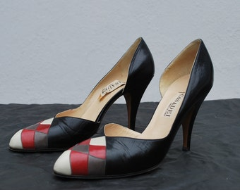 Vintage 70's sexy CASADEI pumps shoes 7 us weaved leather checkered toe by thekaliman