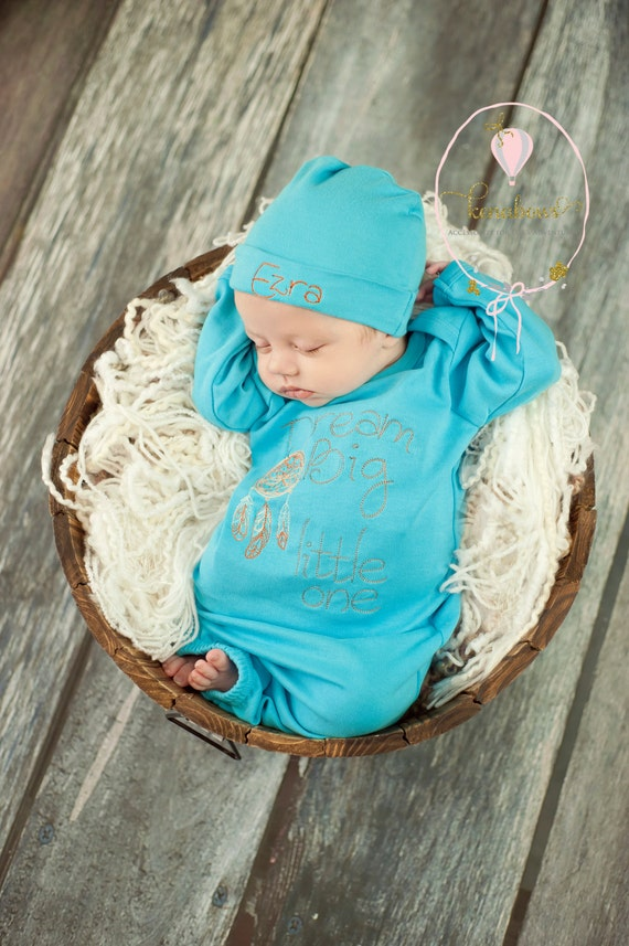 New Baby Boy Gown Turquoise Blue Infant Gown Newborn
