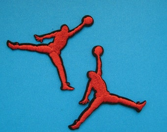 2 pcs Iron-on Embroidered Patch Basketball 2.1 inch