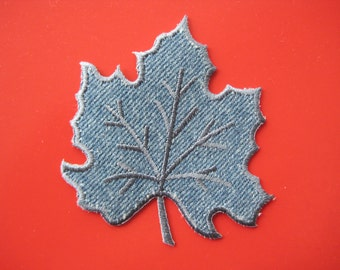 Sale~ Iron-on Embroidered Patch Denim Maple Leaf 3 inch