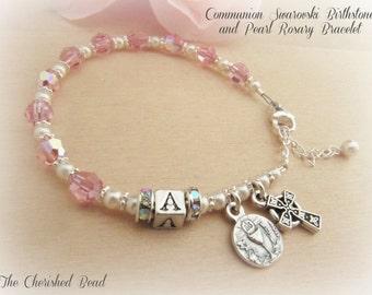 Irish Girl's First Communion Personalized Birthstone Swarovski Crystal, Rhinestone & Pearl Rosary Bracelet