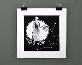 Aquarius Digital Print, Zodiac Print of Aquarius The Water Carrier - Twelve Astrological Signs Available - Original Digital Astrology Print