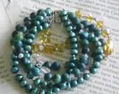 yellow Turquoise beads pearls bracelet,layered bracelet,bohemian chic,southwestern jewelry
