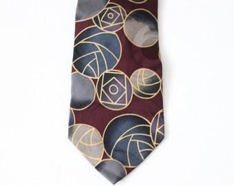 Vintage 80s Silk Abstract Geometric Design Chez Roffe Necktie - Designer Silk, made in America