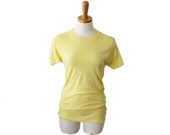 The Perfectly Worn Pale Yellow Tee Shirt - Women S, Men XS - Made in America