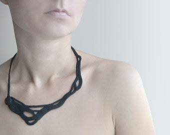Black crochet necklace - statement jewelry -black necklace, Fiber necklace - Modern crochet necklace