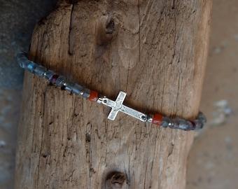 Labradorite Carnelian Garnet Sterling Silver Sideways Cross Bracelet