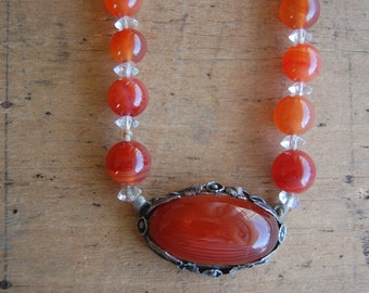 Antique Art Deco carnelian bead necklace ∙ 1930s carnelian choker