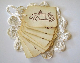 Volkswagen Beetle Gift Tags, Bug Favor Tags, Beetle Convertable Blank Tags, Car Pricing Tags
