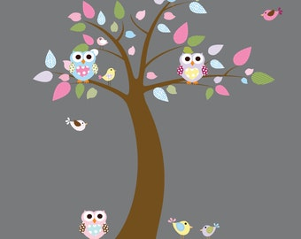 Nursery Wall Decals, Children Wall Decals, Baby Wall Decals, Girls Owl Wall Decals, Nursery Tree, Pink, Blue, Lavender Wall Decal