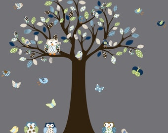 Vinyl Wall Decal  Nursery tree decal with owls birds green blue pattern leaves childrens owl decal tree