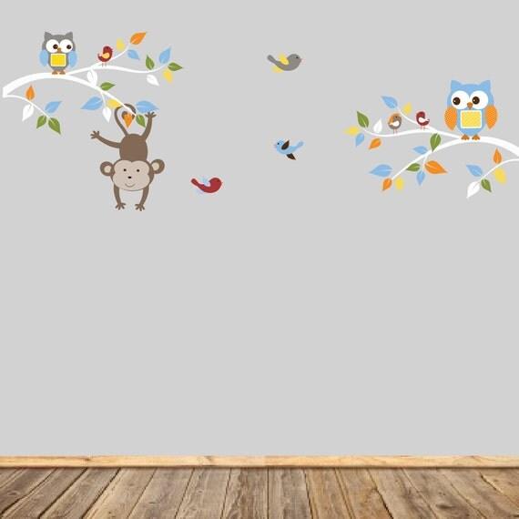 Vinyl Wall Decal  Monkey Nursery, Vinyl Decals, Boys Nursery Art, Owl Decals, Children's Decals, Bedroom Nursery Art
