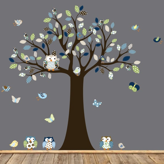 Nursery tree decal with owls birds green blue pattern leaves childrens owl decal tree
