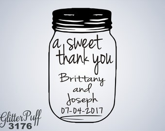 Mason Jar Rubber Stamp - Custom Sweet thank you - (G3176) Rustic Casual Wedding Stamp