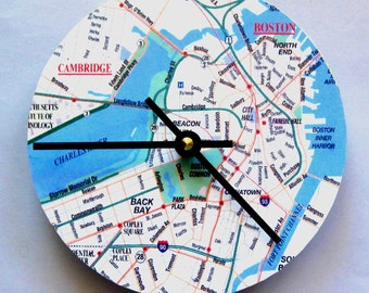 Clock made from a map of Boston.  Wall clock.