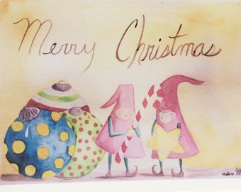 Set of Three, Whimsical Christmas Elves Cards, my watercolor, made on recycled paper, comes with envelope and seal.