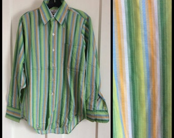 Vintage Deadstock 1970's Striped Mens dress shirt Size Small Blue Green Rayon