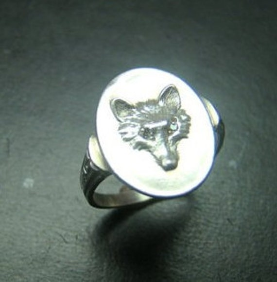 Adorable Sterling Silver Fox ring with genuine diamond eyes.