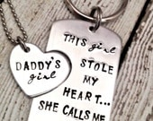 Daddy Gift Personalized - Daddy Daughter gift set - Daddy keychain - Daddy's Girl necklace - Hand stamped gift