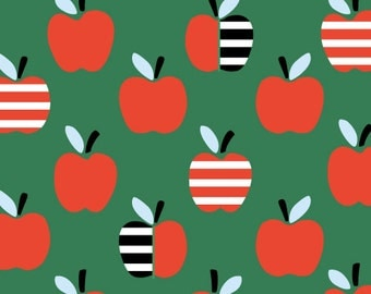 Organic CORDUROY Fabric - Cloud9 Small World Corduroy - An Apple a Day