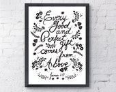 "Every Good and Perfect. James 1:17. Love Typography Art. Scripture Wall Art. 8.5 x 11"" JT162"