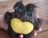 CUSTOM ORDER for Helen, stuffed love monster plush creature furry animal, monster with heart, ugly doll, OOAK