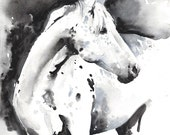 Archival Prints of Watercolour Painting, Horse Watercolor, Horse Illustration. Titled: Ever
