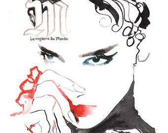 Original Fashion Illustration, Edgy fashion, Fashion Wall Art, Watercolor Fashion, Le Monde Le magazine, Black and Red Fashion art