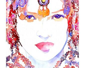 Kate Moss Print, Indian Bride Print, Watercolor Fashion Illustration, Indian Costume print Print. Indian Fashion Watercolor, Nose ring