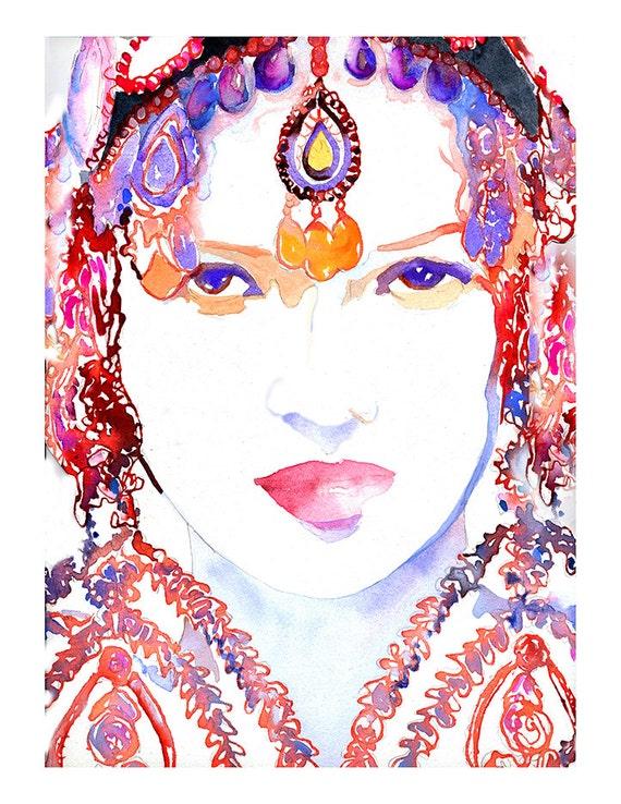 Archival Prints of Watercolor Fashion Illustration. Indian Bride Print. Indian Fashion Watercolor