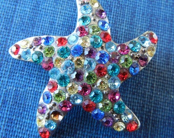 Vintage Starfish Brooch with multi-colored rhinestones and pin back star celestial shape denim jacket jewelry