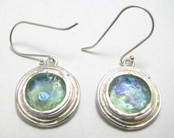 Amazing Roman Glass 925 Sterling 925 Silver Earrings
