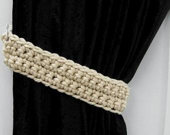 Curtain Tiebacks, Curtain Tie Backs Set, One Pair of Solid Beige, Dark Cream, Tan Drapery Drapes Holders, Crochet..Ready to Ship & Custom