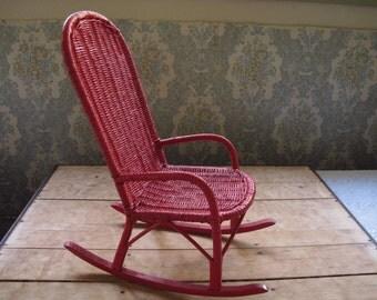 Vintage Doll Rocking Chair Red Wicker Big Doll Rocking Chair Vintage Doll Furniture Wood & Wicker Red Wicker Big Toy Rocking Chair