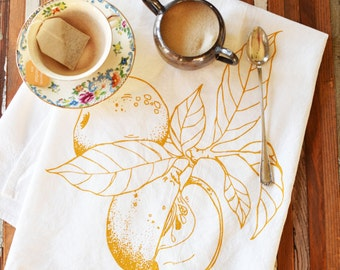 Tea Towel - Screen Printed Flour Sack Towel - Apple - Absorbent Dish Towel - Eco Friendly Cotton - Classic Flour Sack Towel - Kitchen Towel