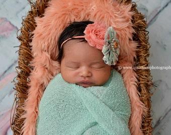 Peach Papaya Mongolian Faux Fur Nest Photography Prop Rug Newborn Baby Toddler