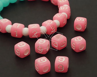 LR-072-PK / 10 Pcs - Numeric Luminous Beads, Phone Number Bead, Anniversary Date, Number Nine, 9, PINK Square / 7mm