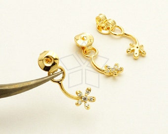 EA-137-GD / 2 Pcs - Ear Jackets (Mini CZ Flower), for Ear Cuffs and Front Back Earrings, 16K Gold Plated over Brass / 15mm