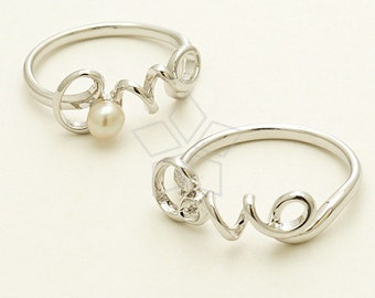 RR-015-OR / 1 Pcs - Love Word Wire Ring Base for Half Drilled Pearl, Silver Plated over Brass / 6 US Size
