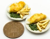 two plates fish and chips miniature food