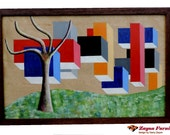 "Garry Zayon born 1955 Philadelphia painting abstract landscape tree at the end of the block  signed by  frame     39"" x 25.25"""