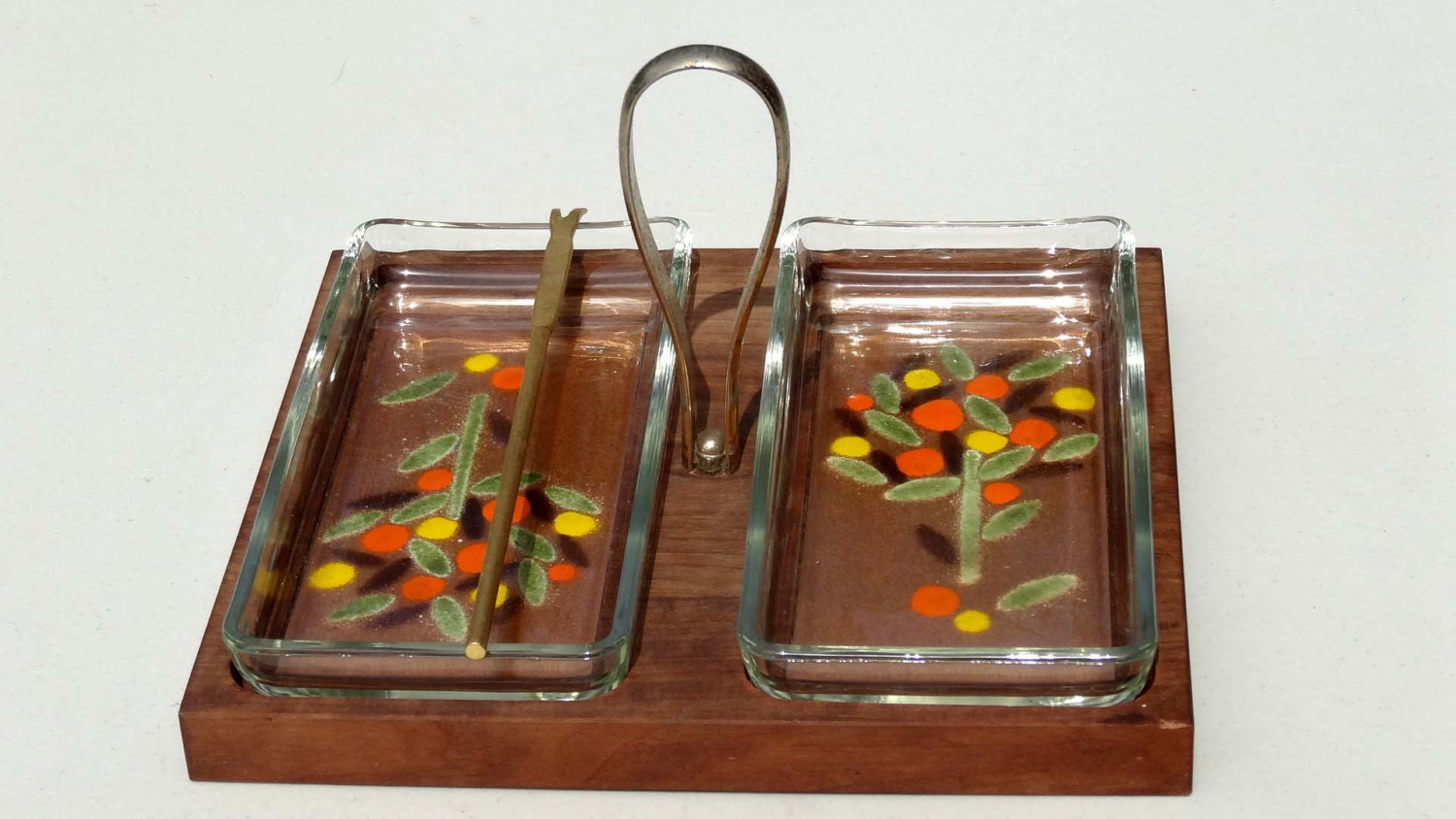 wood tray with glass inserts canape tray hand painted handled
