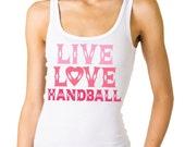 """Juniors """"LIVE LOVE HANDBALL""""  Sheer Mini Rib Tank Top 10294"""