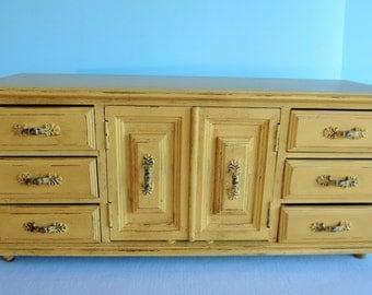 Vintage Wooden Handpainted Jewelry Box - Yellow Jewelry Box
