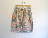 Vintage pastel floral denim Skirt Size 12 L
