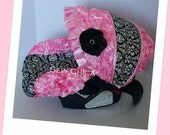 Light Pink 3D Roses/ Black Damask Minky/Split Design Infant Baby Car Seat Cover with Bling Flower-Ready To ship