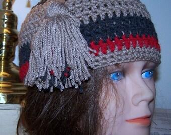 Tassel Beanie Hat Crochet Striped Hand New Stripe Tan Grey Red Cap Crocheted Skullcap Cloche  Premade Ready to Ship!