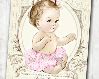 Girl Baby Shower Invitation Shabby Chic Vintage Baby Shower Invitation For Girl - Pink and Beige - DIY Printable